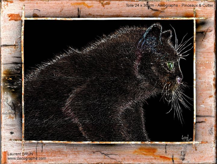 Chat Cutter - Painting,  36x24 cm ©29-0 by LoraN -