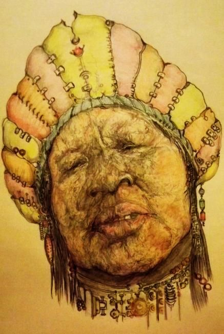 """Drawing titled """"African Queen (colo…"""" by Florian T, Original Art, Other"""