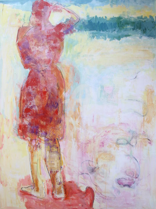lori-solymosi-28.jpg - Painting,  48x36x2 in ©2017 by Lori Solymosi -                                                                        Abstract Expressionism, Figurative Art, Canvas, Women, beach, woman, abstract, vintage, colorful