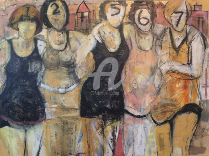 FIVE BETTIES - Painting,  40x30 in ©2015 by Lori Solymosi -                                                            Contemporary painting, Canvas, Women, bathing beauties, women, mixed media, contemporary, vintage inspired, monochromatic