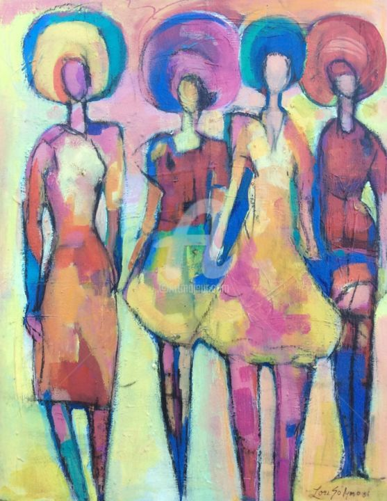 Triad Bathers - Painting,  14x11 cm ©2015 by Lori Solymosi -                                                            Contemporary painting, Canvas, Women, color, women, vintage, music, contemporary, abstract