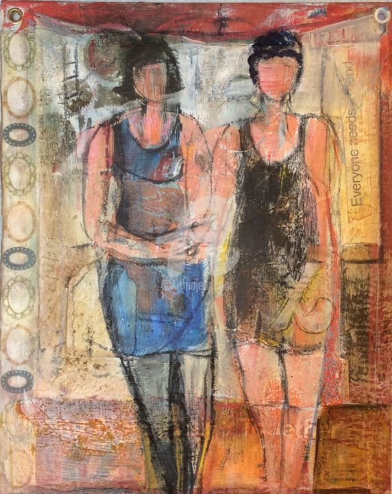 Day 15, Everyone Needs A Friend - Painting ©2015 by Lori Solymosi -                                                            Contemporary painting, Paper, People, vintage, mixed media, book