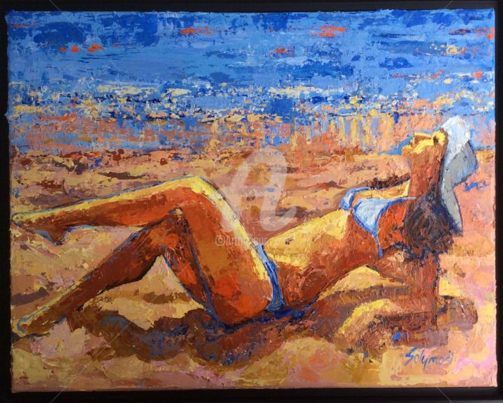 Sienna See - Painting ©2015 by Lori Solymosi -                                                            Contemporary painting, Canvas, Women, beach, woman