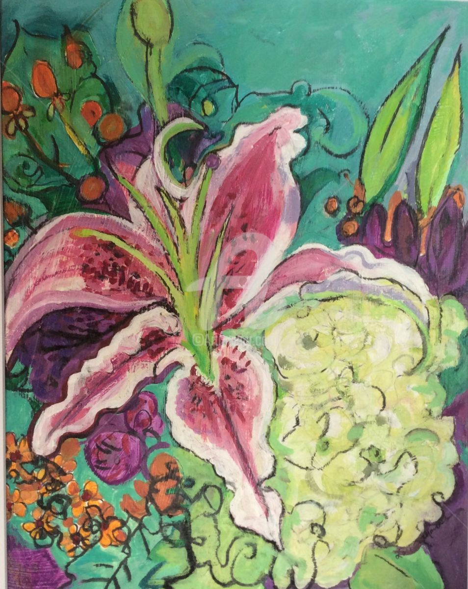 image.jpeg - Painting,  20x16x1 in ©2015 by Lori Solymosi -                                                            Abstract Expressionism, Paper, Flower, lilly, abstract, colorful