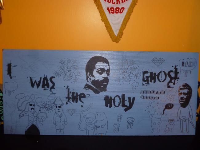 I was the Holy Ghost (tribute to Albert Ayler) - Painting,  100x40 cm ©2011 by Lost Beauty -            Encre de chine on wood