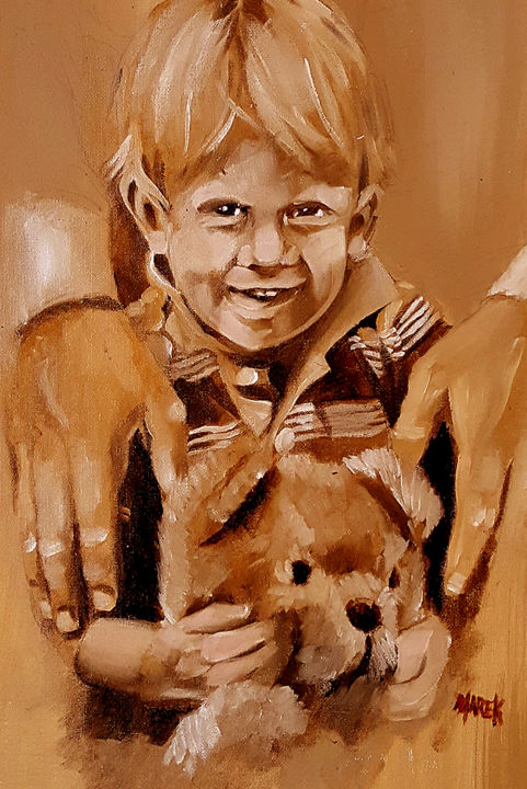 """Painting titled """"young boy"""" by Lou Marek, Original Art, Acrylic"""