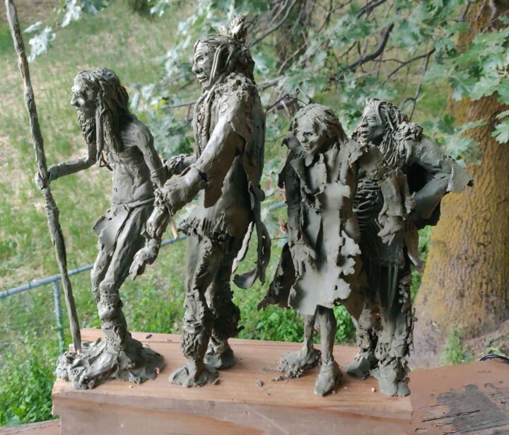 """Sculpture titled """"Trail of Tears cont"""" by Lou Marek, Original Art, Polymer clay"""