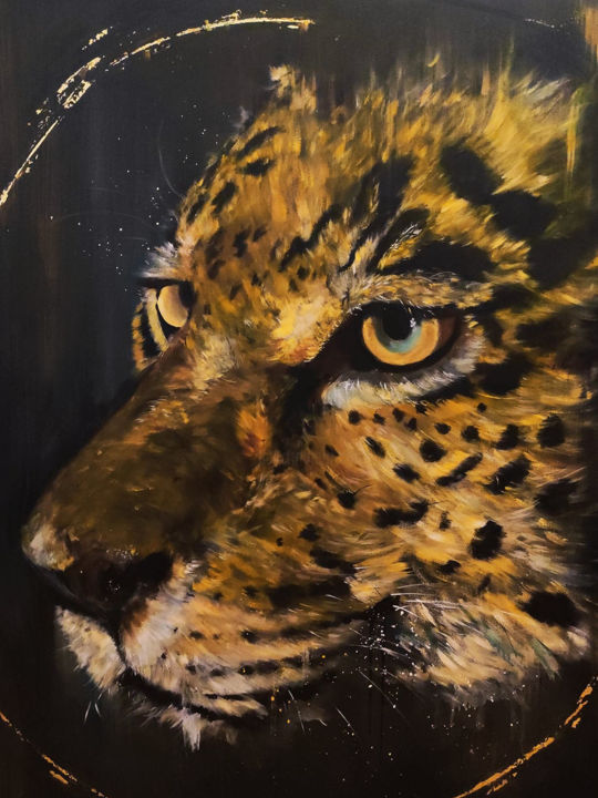 """Painting titled """"Leopard"""" by Laurent Coukan, Original Art, Acrylic"""