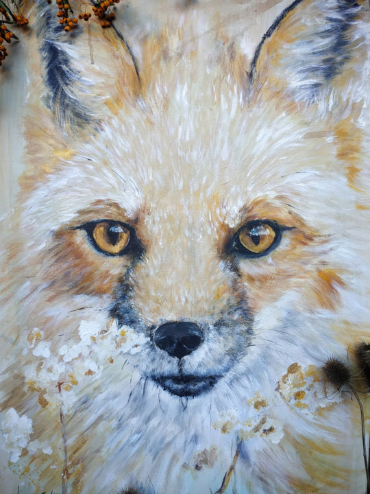 """Painting titled """"Red Fox"""" by Laurent Coukan, Original Art, Acrylic"""