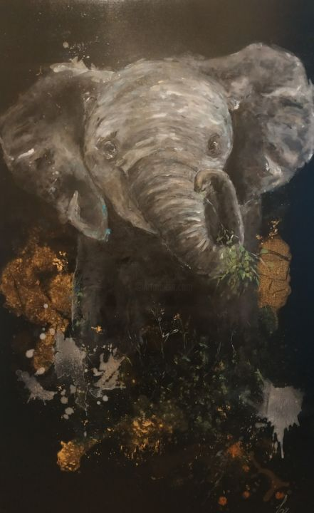 """Painting titled """"Baby Elephant"""" by Laurent Coukan, Original Art, Acrylic"""