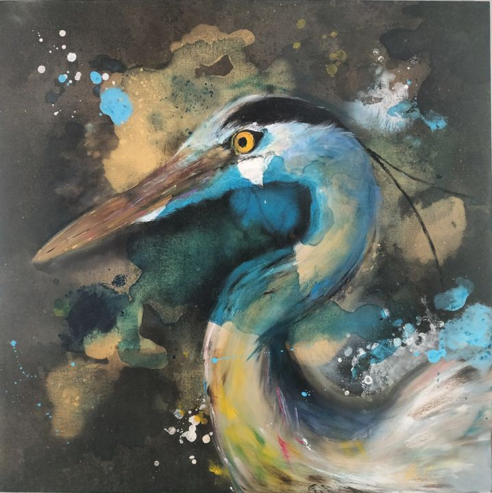 """Painting titled """"Heron"""" by Laurent Coukan, Original Art, Acrylic"""