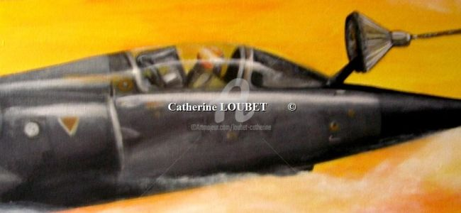 Mirage F1 - Painting,  90x20 cm ©2008 by Catherine Indiana Loubet -            Ravitaillement en vol