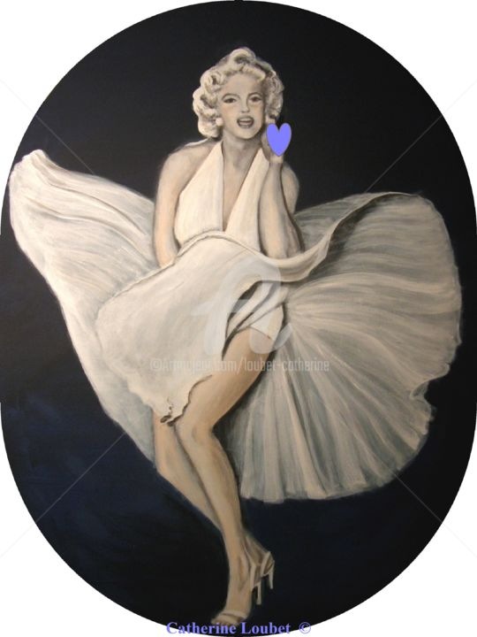 Marylin Monroe - Painting,  80x60 cm ©2010 by Catherine Indiana Loubet -            Marylin Monroe USA portrait décoration