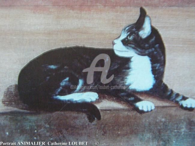 ...Le chat... - Painting ©2010 by Catherine Indiana Loubet -                            Portraiture, portraits d'animaux...
