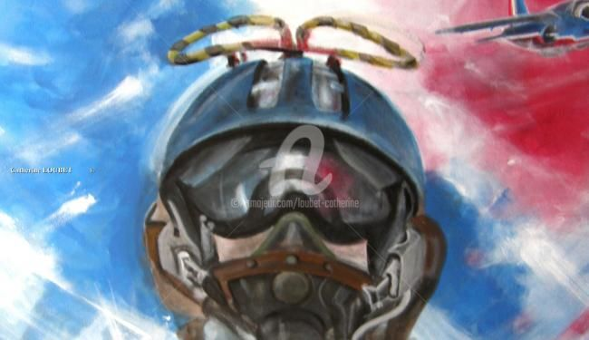 Patrouille Acrobatique de France - Painting,  90x70 cm ©2010 by Catherine Indiana Loubet -            Patrouille de France Portrait Pilote en plein vol
