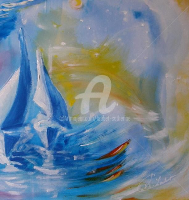 Impression Marine.... - Painting ©2012 by Catherine Indiana Loubet -                            Abstract Art, Voiliers...