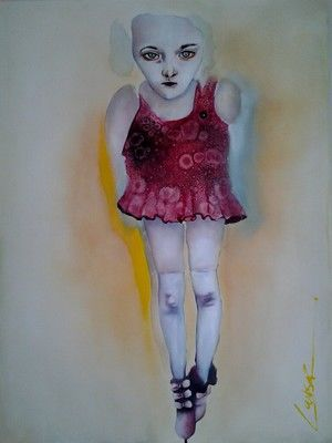 The callous coquette - Painting,  100x76 cm ©2012 by Michele Loubser -                            Contemporary painting, painting of girl