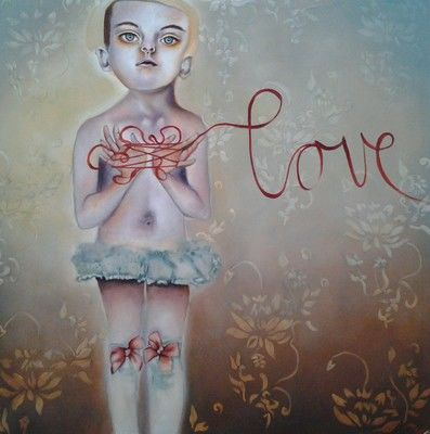 The love child - Painting,  100x100 cm ©2012 by Michele Loubser -                            Contemporary painting, painting of girl love child