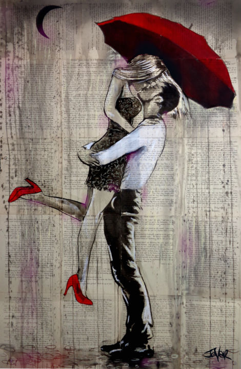 """Drawing titled """"THAT NIGHT"""" by Loui Jover, Original Art, Ink"""