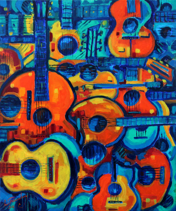 GUITARES ET VIOLON - Painting,  73x60x23 cm ©2016 by LOUIS RUNEMBERG -                                                            Fauvism, Canvas, Music, guitare, violon