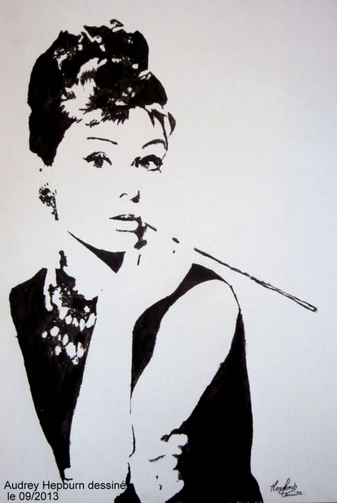 Audrey hepburn pop art black white painting