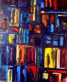 WINDOWS ART 20F.01 (ARTPRICE, AKOUN) - Painting,  55x46 cm ©1999 by LOUIS RUNEMBERG -