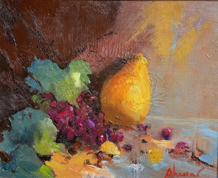 """Painting titled """"The pear and the gr…"""" by Aluizio Loureiro, Original Art, Oil Mounted on Wood Panel"""