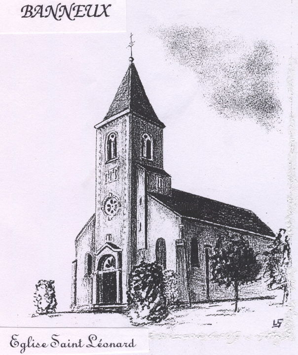 Eglise à Banneux - Drawing,  15.8x11.8 in, ©2018 by Lou Streel -                                                                                                                                                                          Figurative, figurative-594, Religion