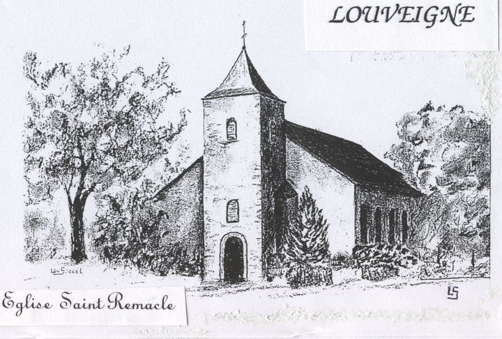 Eglise à Louveigné - Drawing,  11.8x15.8 in, ©2018 by Lou Streel -                                                                                                                                                                          Figurative, figurative-594, Religion