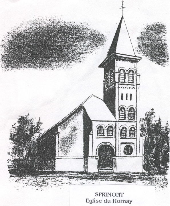 Eglise du Hornay - Drawing,  15.8x11.8 in, ©2018 by Lou Streel -                                                              Religion