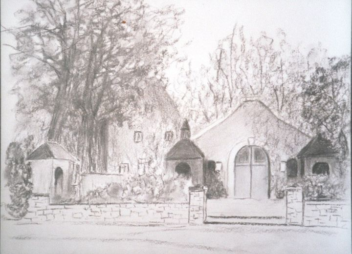 Chapelle à Tancrémont - Drawing,  40x30 cm ©2018 by Lou Streel -