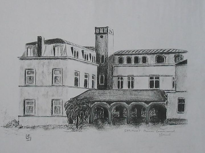Maison communale de Sprimont - Drawing,  11.8x15.8 in, ©2018 by Lou Streel -                                                              Rural life