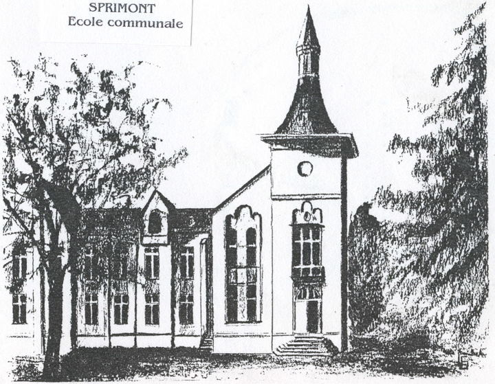 Ecole communale de Sprimont - Drawing,  11.8x15.8 in, ©2018 by Lou Streel -                                                              Rural life