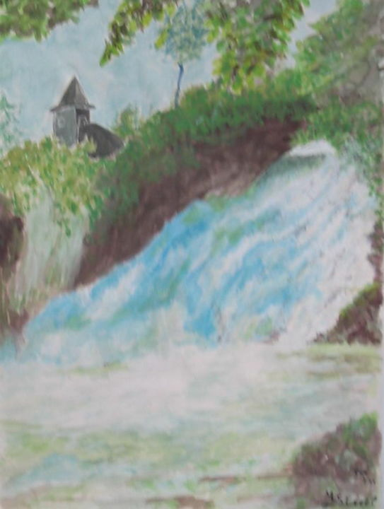 Cascade de Coo - Drawing,  15.8x11.8 in, ©2018 by Lou Streel -                                                              Nature