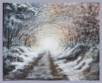 Tunnel blanc (Hazaie - Lincé) - Painting,  15.8x19.7 in, ©2006 by Lou Streel -                                                                                                                                                                          Classicism, classicism-933, paysage