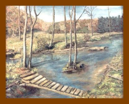 Passerelle  (Hoyoux) - Painting,  15.8x19.7 in, ©2010 by Lou Streel -                                                                                                                                                                          Classicism, classicism-933, Paysages