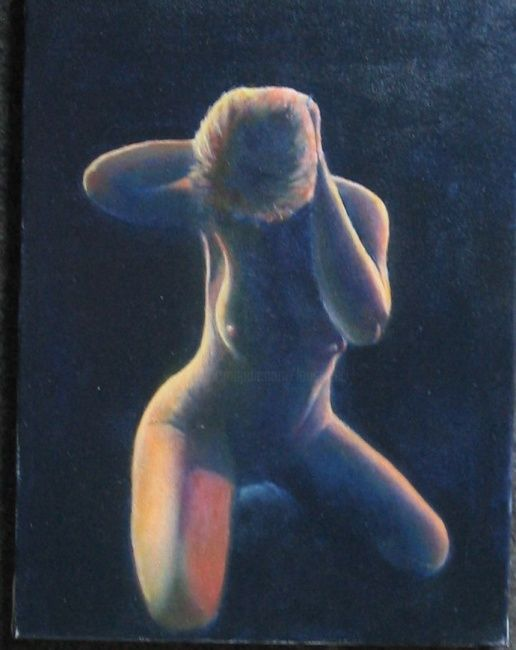 Lumineuse - Painting,  15.8x11.8 in, ©2010 by Lou Streel -                                                                                                              Nude, Nus