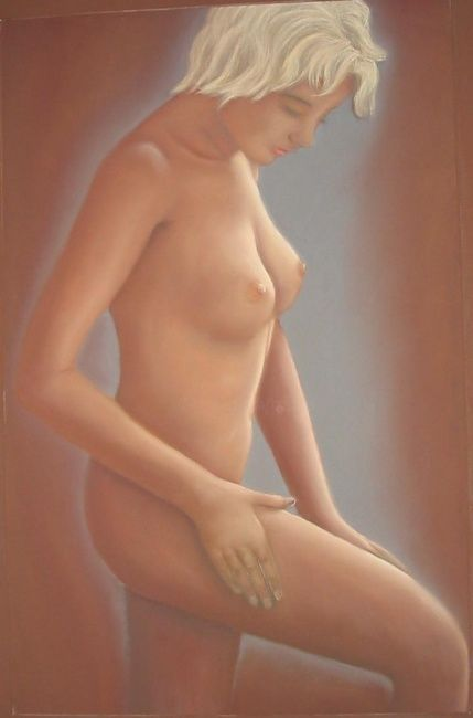 Blonde - Painting,  70x50 cm ©2010 by Lou Streel -                            Nude, Nus