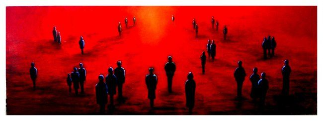 Attraction - Painting,  100x35 cm ©2006 by Lou Streel -                            Contemporary painting, Les rouges