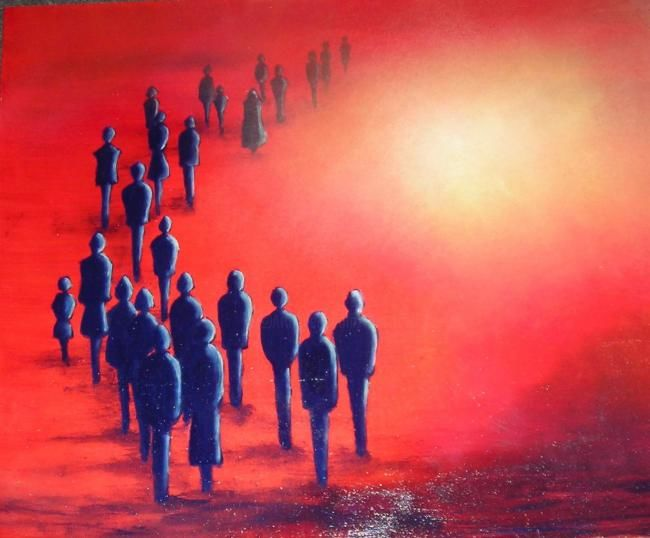 Exode - Painting, ©2006 by Lou Streel -                                                              Les rouges