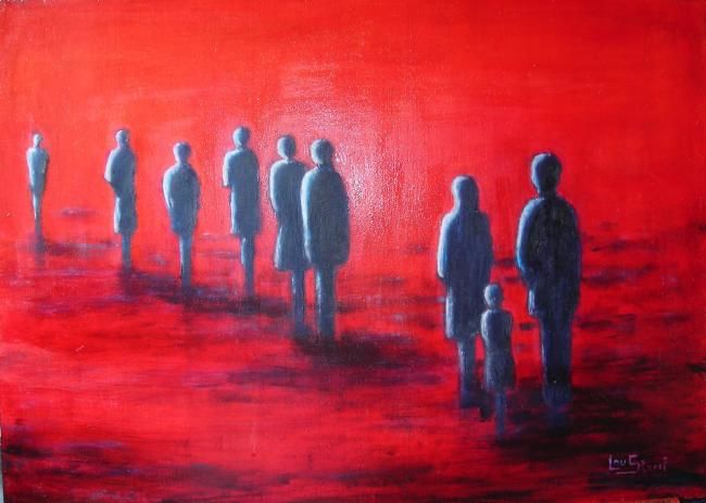 La marche - Painting,  55x40 cm ©2006 by Lou Streel -                            Contemporary painting, Les rouges