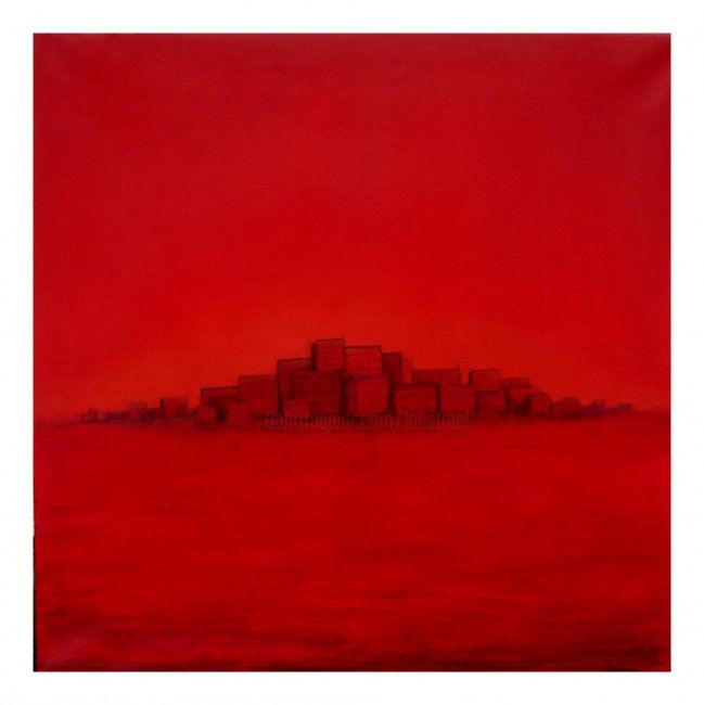 La ville - Painting ©2006 by Lou Streel -                            Contemporary painting, Les rouges