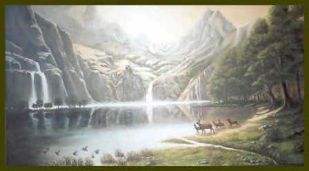 Le lac Tahoo - Painting,  111x61 cm ©2002 by Lou Streel -                            Classicism, Paysage