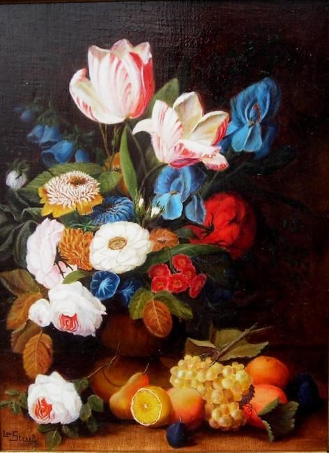 Les tulipes - Painting,  15.8x11.8 in, ©2001 by Lou Streel -                                                                                                                                                                          Classicism, classicism-933, à l'ancienne