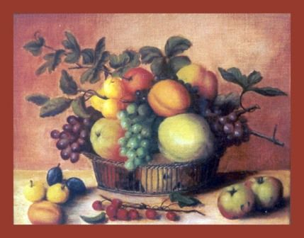 Panier de fruits - Painting,  30x24 cm ©2002 by Lou Streel -                            Classicism, à l'ancienne