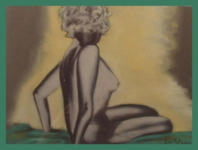 Spot - Painting,  11.8x19.7 in, ©1990 by Lou Streel -                                                                                                              Nude, Nus