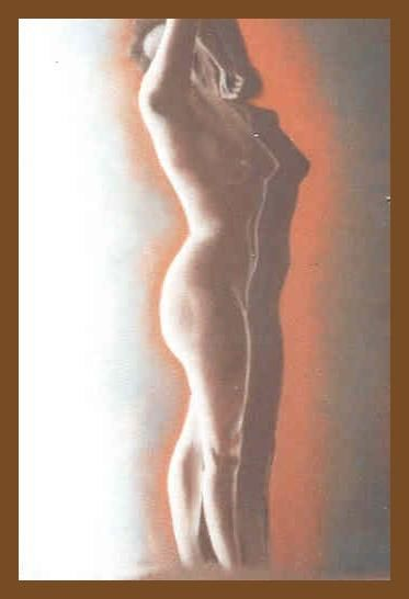 Lumière - Painting,  27.6x19.7 in, ©1991 by Lou Streel -                                                                                                              Nude, Nus