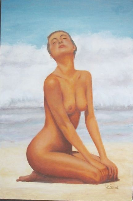 La plage - Painting,  23.6x15.8 in, ©2006 by Lou Streel -                                                                                                              Nude, Nus