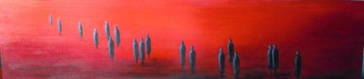 Partance - Painting,  8.7x39.4 in, ©2010 by Lou Streel -                                                              Les Rouges