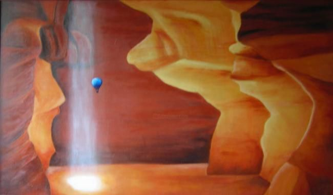 Grotte - Painting,  100x60 cm ©2010 by Lou Streel -                            Contemporary painting, Les ocres